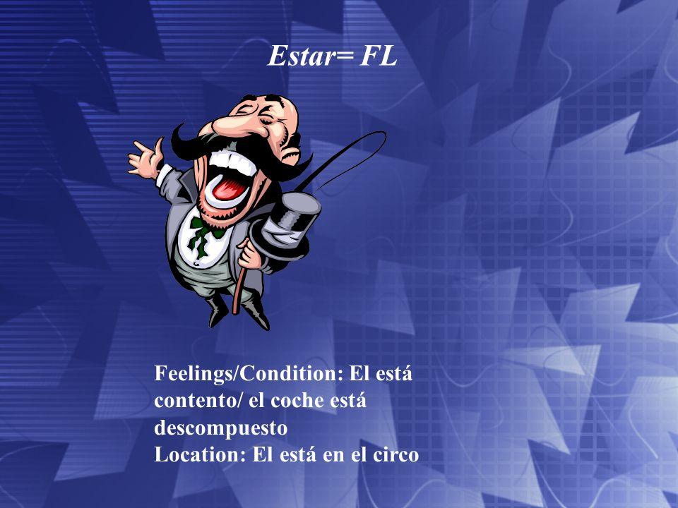 Estar= FL Feelings/Condition: El está contento/ el coche está descompuesto.