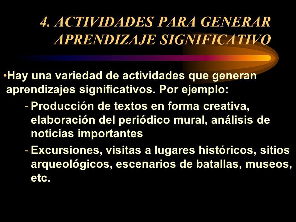 4. ACTIVIDADES PARA GENERAR APRENDIZAJE SIGNIFICATIVO