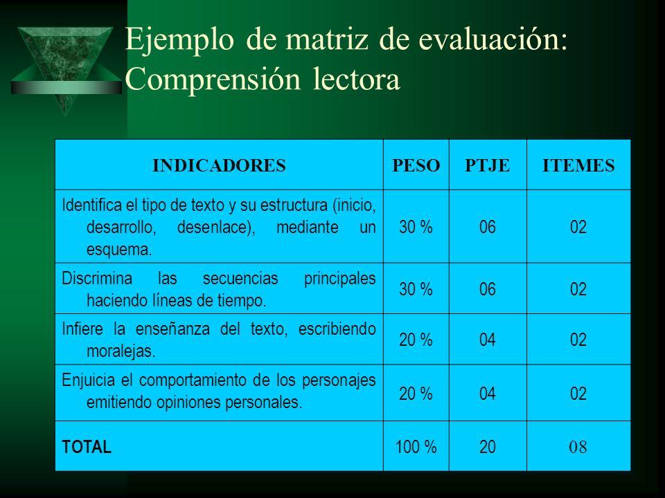 Ejemplo de matriz de evaluación: Comprensión lectora