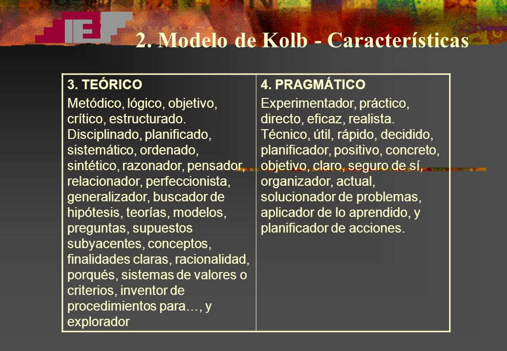 2. Modelo de Kolb - Características