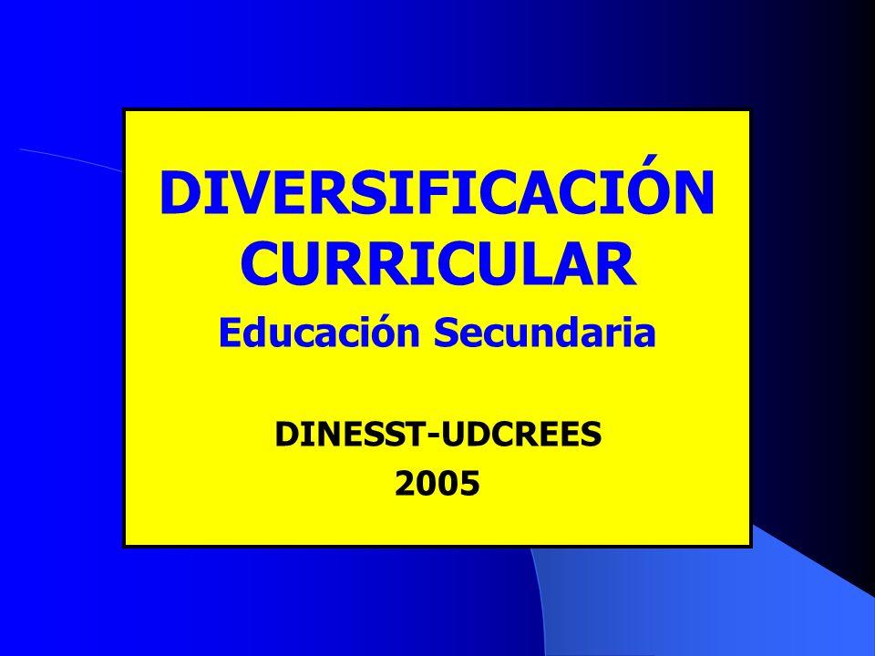 DIVERSIFICACIÓN CURRICULAR Educación Secundaria DINESST-UDCREES 2005
