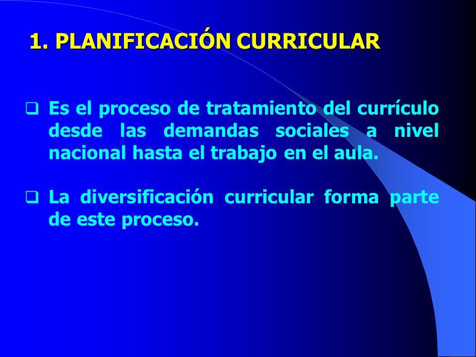 1. PLANIFICACIÓN CURRICULAR
