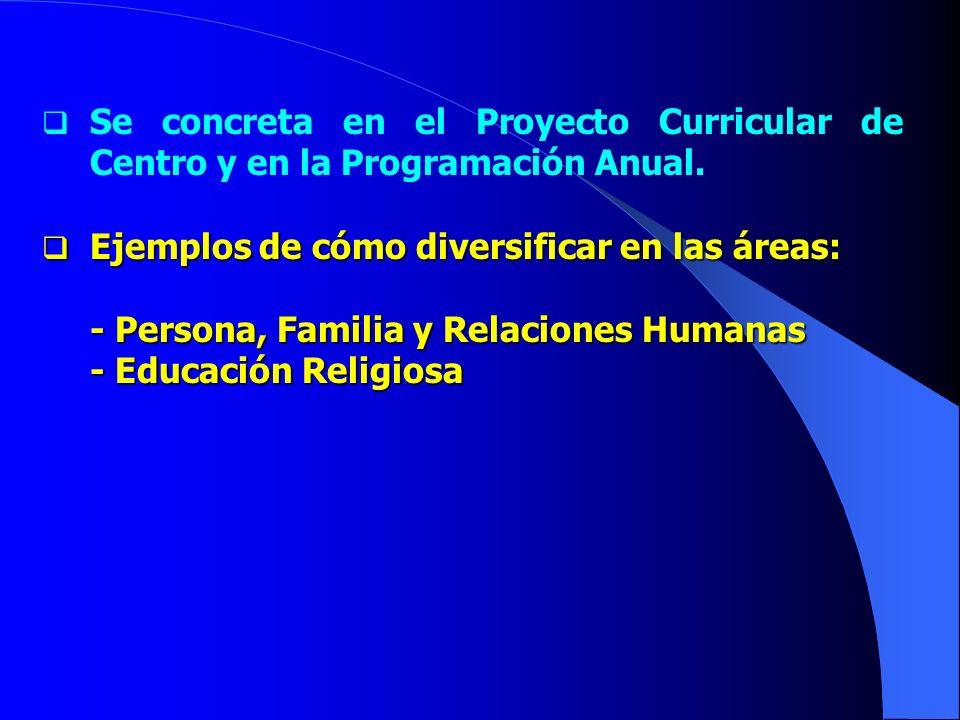 Se concreta en el Proyecto Curricular de Centro y en la Programación Anual.