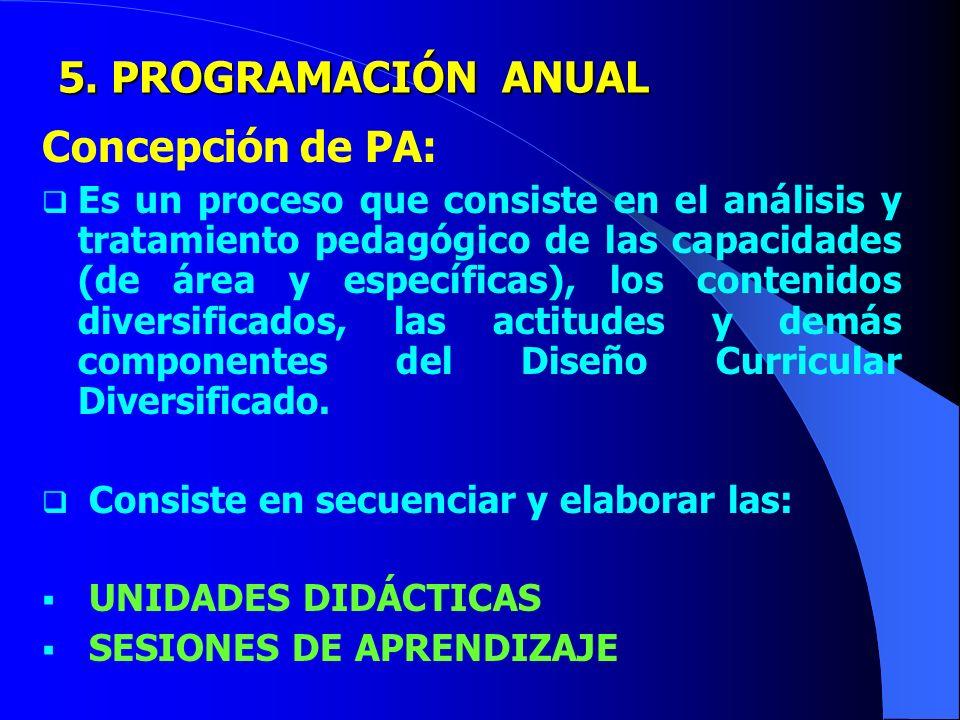 5. PROGRAMACIÓN ANUAL Concepción de PA: