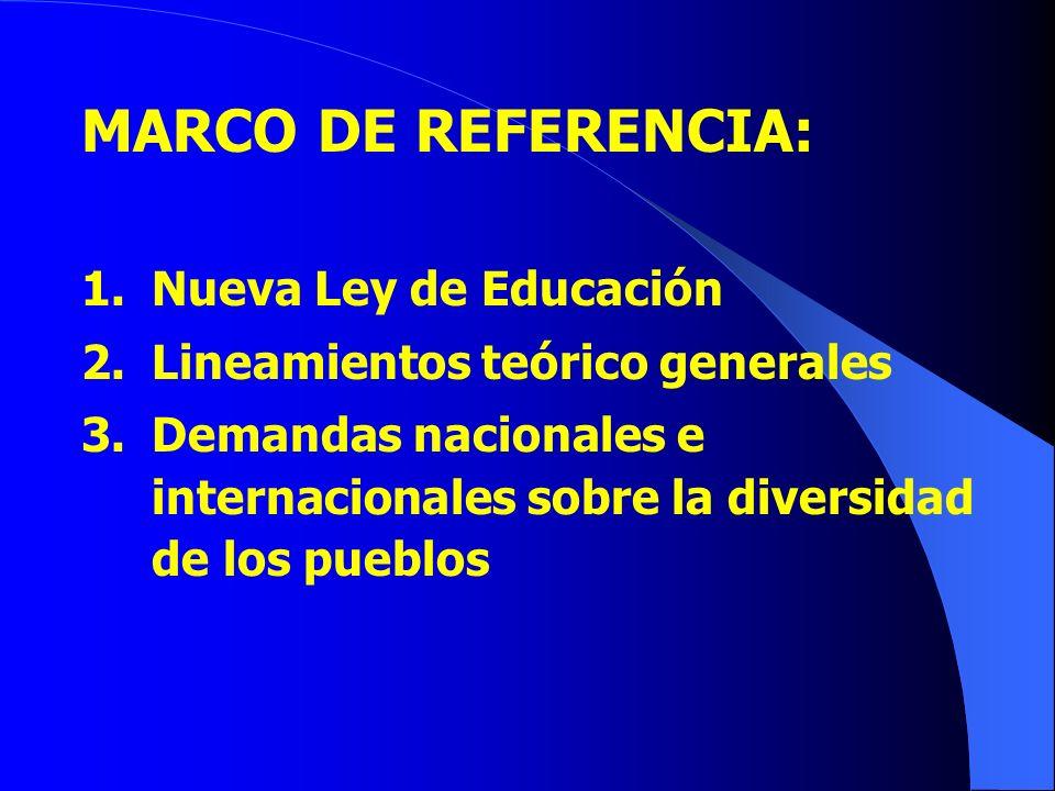MARCO DE REFERENCIA: Nueva Ley de Educación