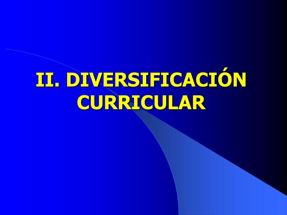 II. DIVERSIFICACIÓN CURRICULAR