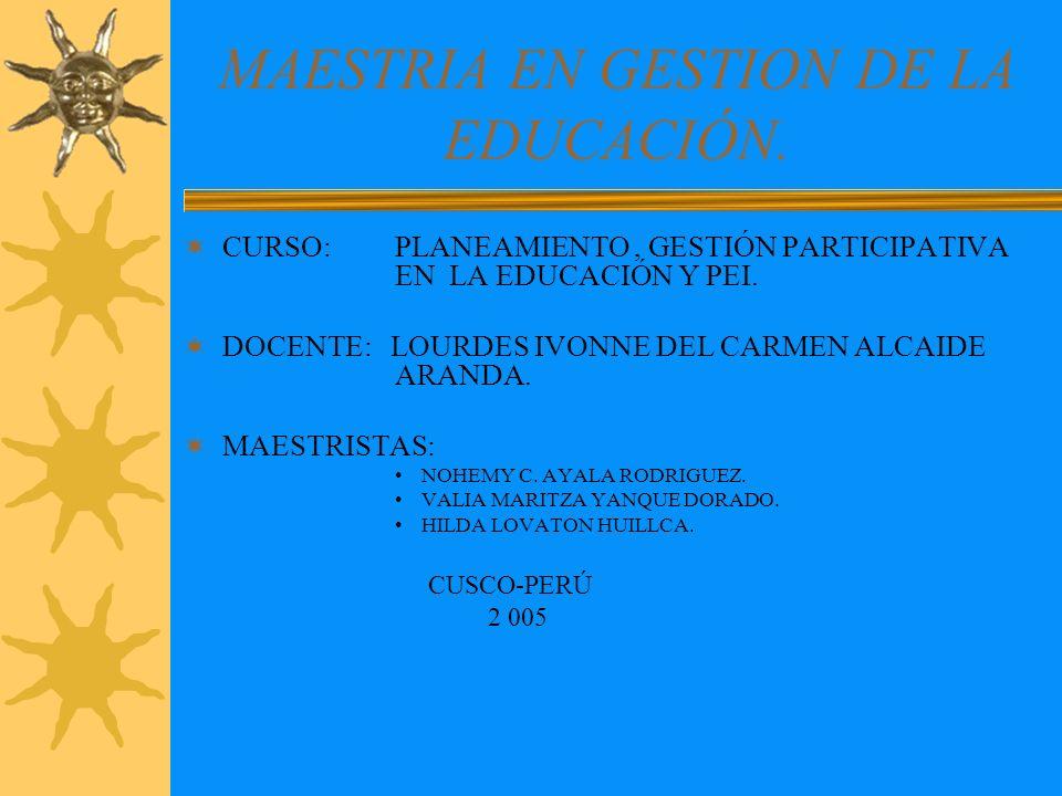 MAESTRIA EN GESTION DE LA EDUCACIÓN.