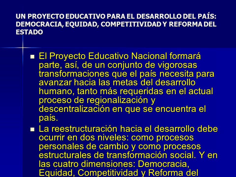 UN PROYECTO EDUCATIVO PARA EL DESARROLLO DEL PAÍS: DEMOCRACIA, EQUIDAD, COMPETITIVIDAD Y REFORMA DEL ESTADO