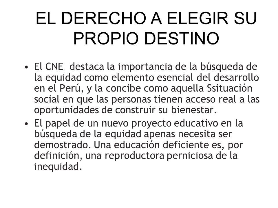 EL DERECHO A ELEGIR SU PROPIO DESTINO