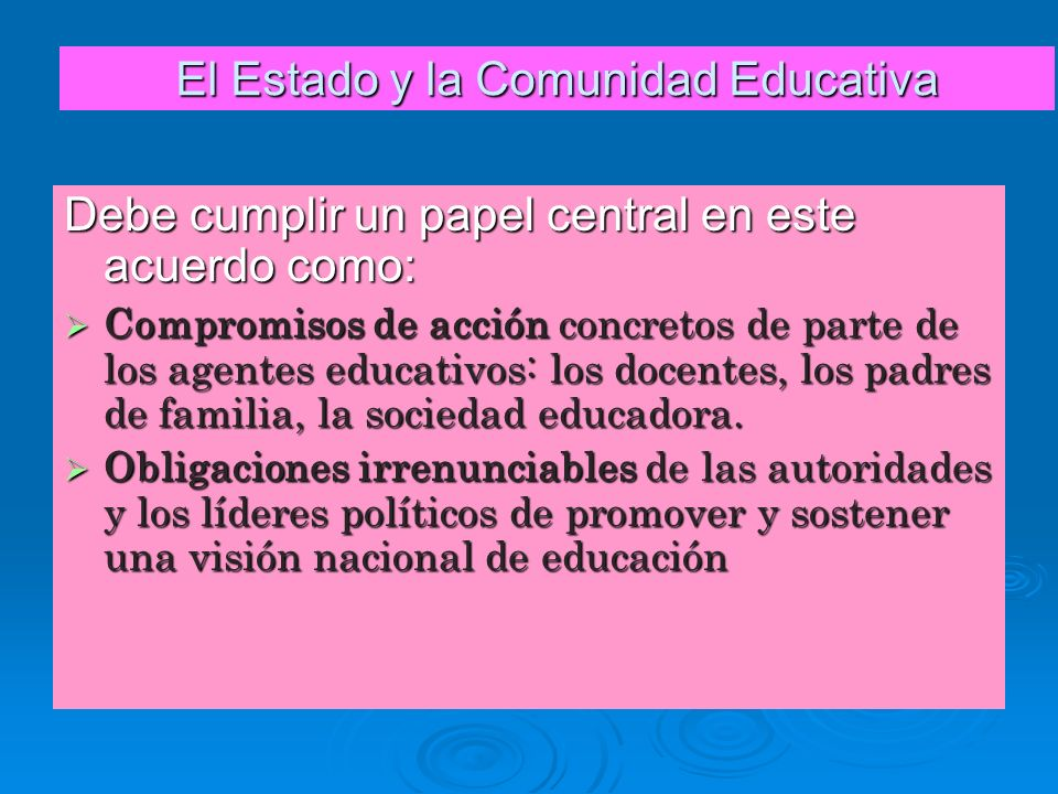 El Estado y la Comunidad Educativa