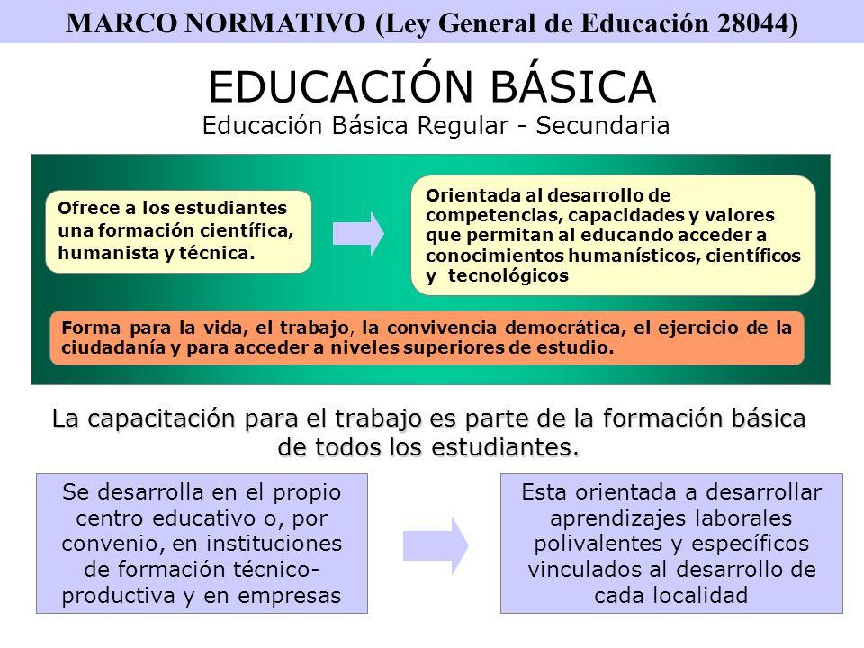 MARCO NORMATIVO (Ley General de Educación 28044)