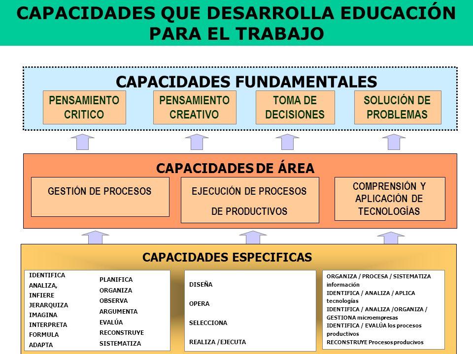 CAPACIDADES QUE DESARROLLA EDUCACIÓN PARA EL TRABAJO