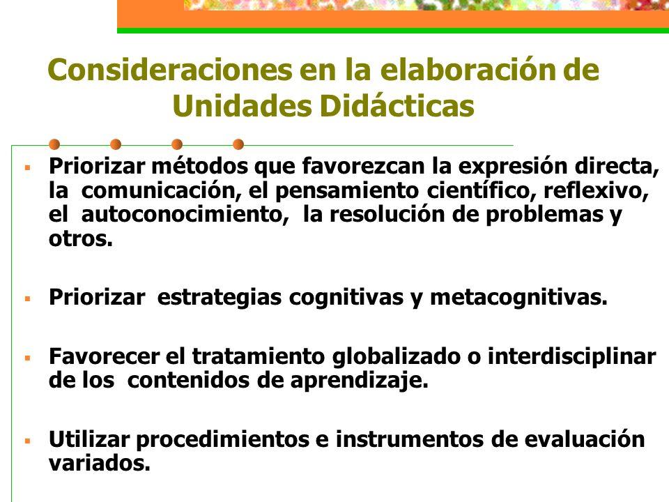 Consideraciones en la elaboración de Unidades Didácticas