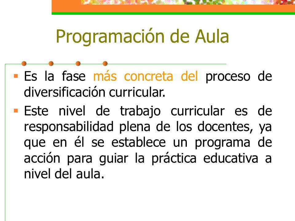 Programación de Aula Es la fase más concreta del proceso de diversificación curricular.