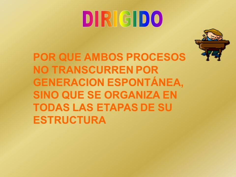 DIRIGIDO POR QUE AMBOS PROCESOS NO TRANSCURREN POR GENERACION ESPONTÁNEA, SINO QUE SE ORGANIZA EN TODAS LAS ETAPAS DE SU ESTRUCTURA.