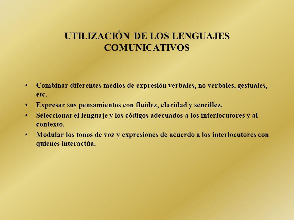 UTILIZACIÓN DE LOS LENGUAJES COMUNICATIVOS