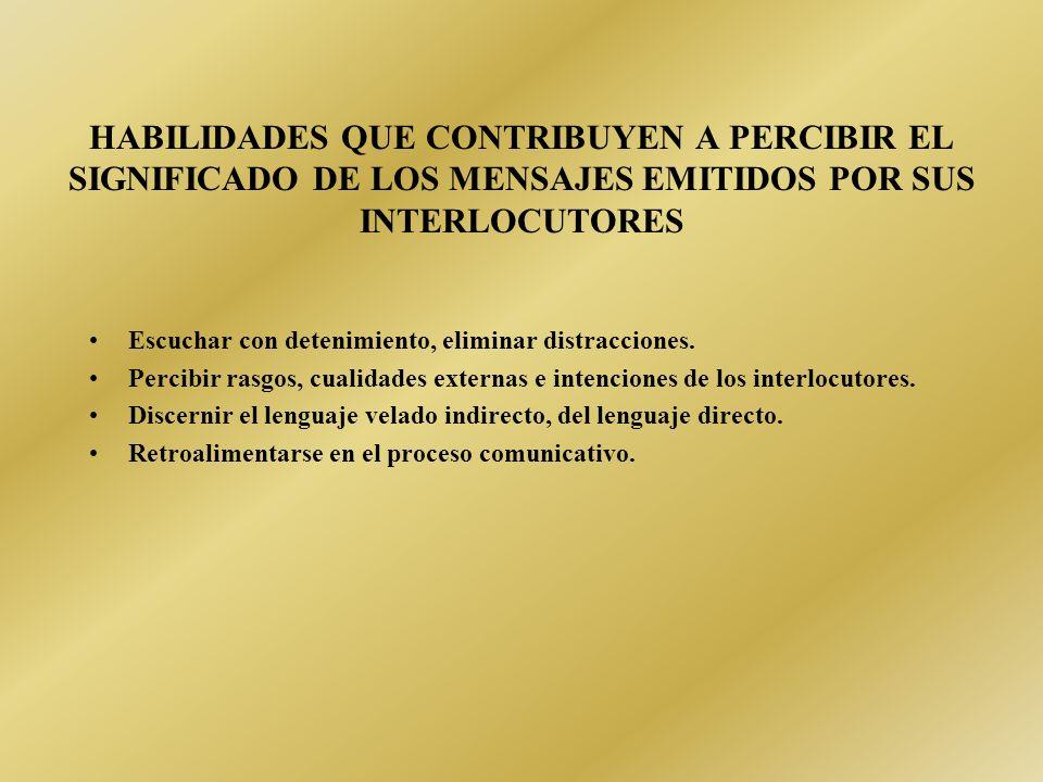 HABILIDADES QUE CONTRIBUYEN A PERCIBIR EL SIGNIFICADO DE LOS MENSAJES EMITIDOS POR SUS INTERLOCUTORES
