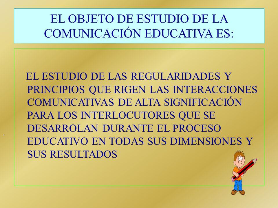 EL OBJETO DE ESTUDIO DE LA COMUNICACIÓN EDUCATIVA ES: