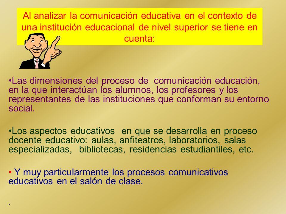 Al analizar la comunicación educativa en el contexto de una institución educacional de nivel superior se tiene en cuenta: