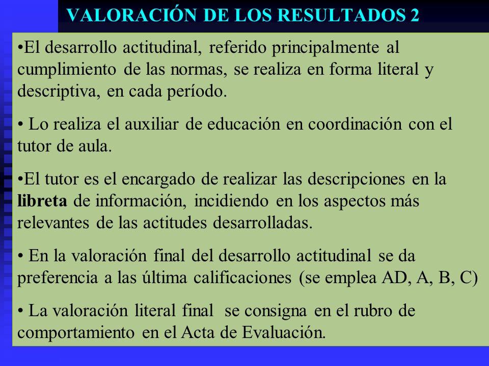 VALORACIÓN DE LOS RESULTADOS 2