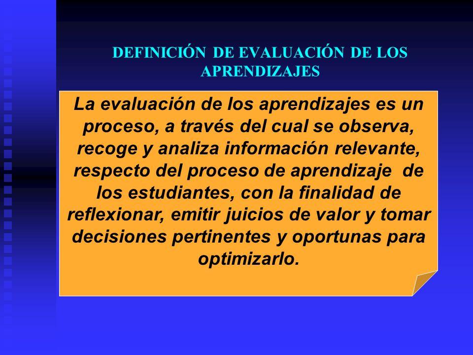 DEFINICIÓN DE EVALUACIÓN DE LOS APRENDIZAJES