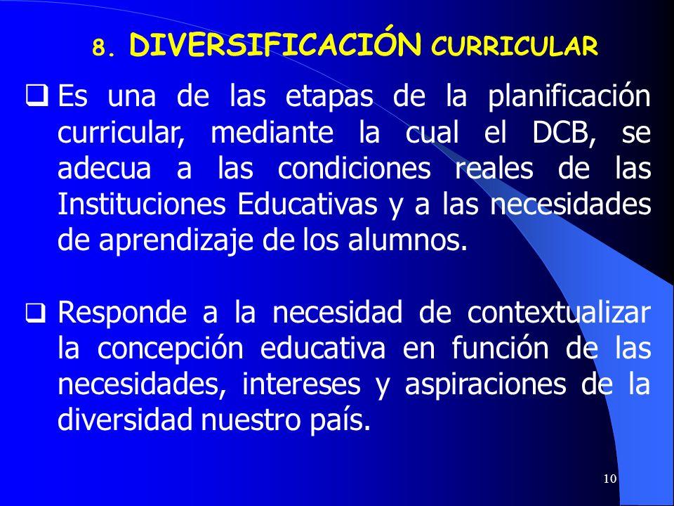 8. DIVERSIFICACIÓN CURRICULAR