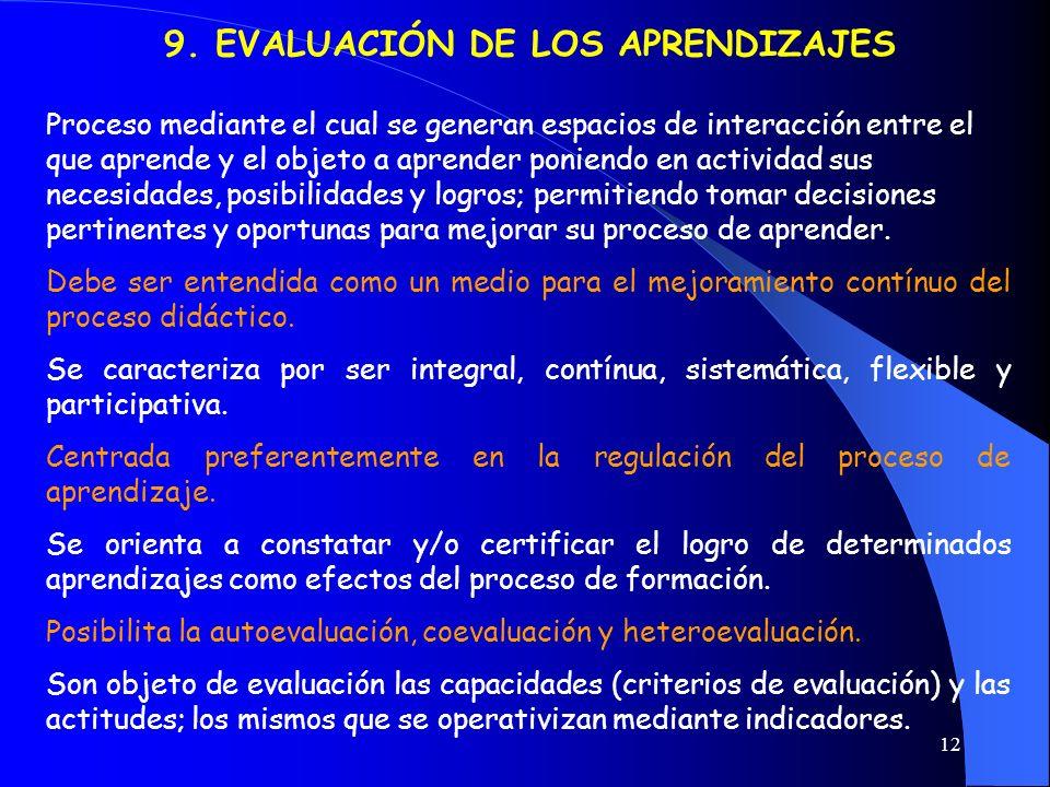 9. EVALUACIÓN DE LOS APRENDIZAJES