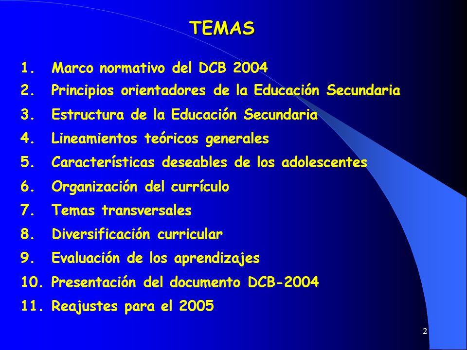 TEMAS Marco normativo del DCB 2004
