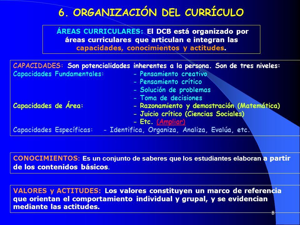 6. ORGANIZACIÓN DEL CURRÍCULO
