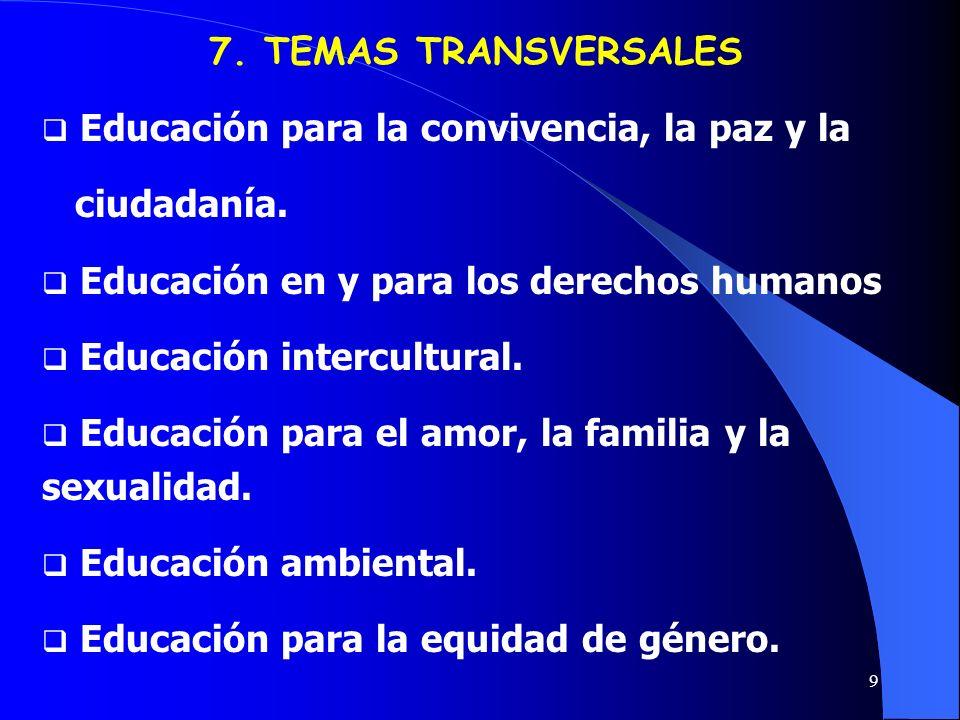 7. TEMAS TRANSVERSALES Educación para la convivencia, la paz y la. ciudadanía. Educación en y para los derechos humanos.