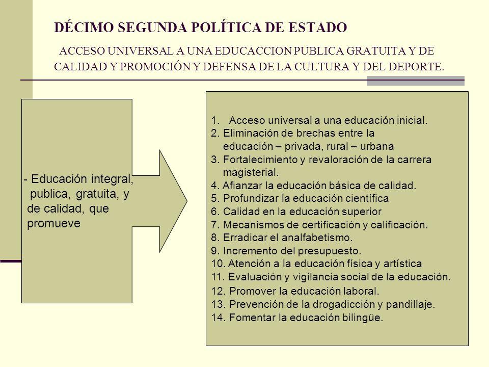DÉCIMO SEGUNDA POLÍTICA DE ESTADO ACCESO UNIVERSAL A UNA EDUCACCION PUBLICA GRATUITA Y DE CALIDAD Y PROMOCIÓN Y DEFENSA DE LA CULTURA Y DEL DEPORTE.