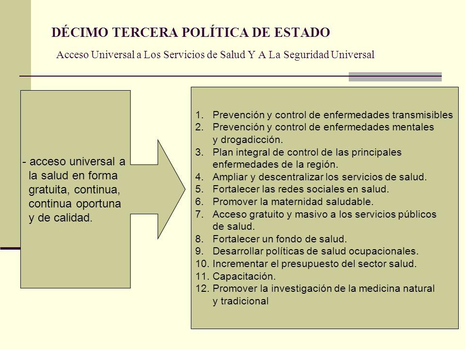 DÉCIMO TERCERA POLÍTICA DE ESTADO Acceso Universal a Los Servicios de Salud Y A La Seguridad Universal