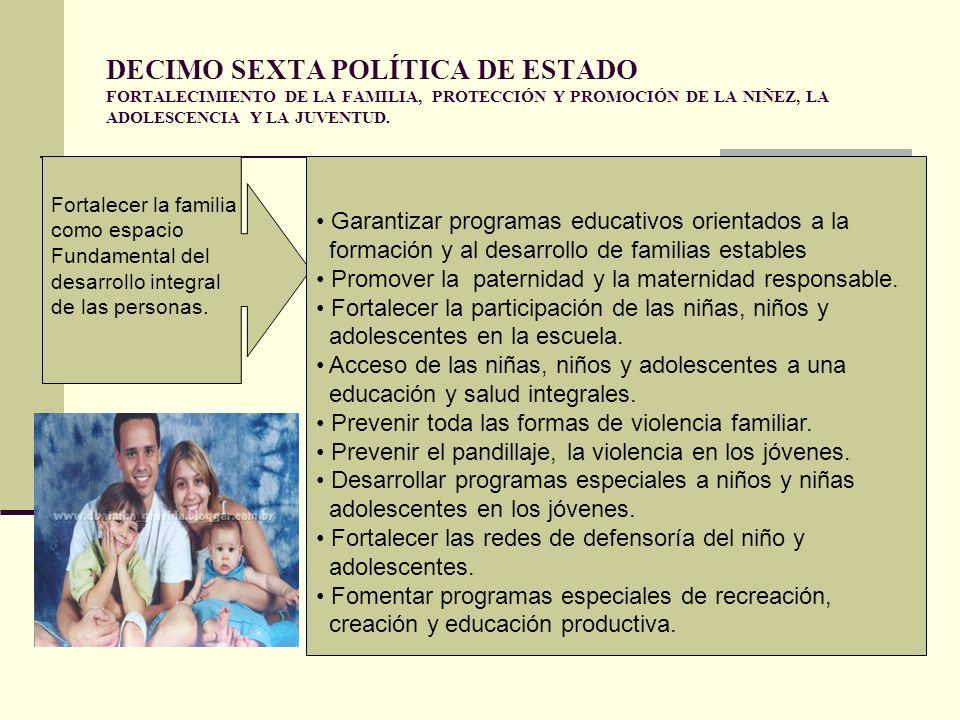 DECIMO SEXTA POLÍTICA DE ESTADO FORTALECIMIENTO DE LA FAMILIA, PROTECCIÓN Y PROMOCIÓN DE LA NIÑEZ, LA ADOLESCENCIA Y LA JUVENTUD.