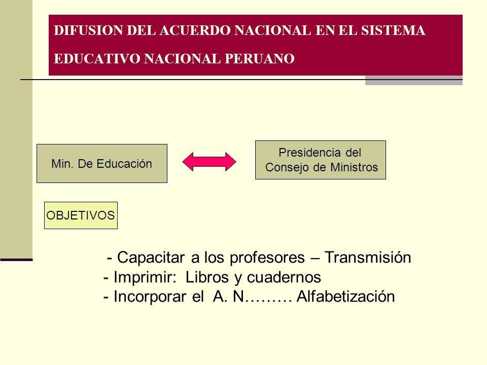 DIFUSION DEL ACUERDO NACIONAL EN EL SISTEMA EDUCATIVO NACIONAL PERUANO