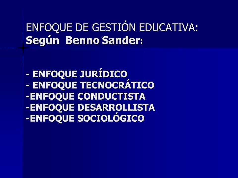 ENFOQUE DE GESTIÓN EDUCATIVA: Según Benno Sander: - ENFOQUE JURÍDICO - ENFOQUE TECNOCRÁTICO -ENFOQUE CONDUCTISTA -ENFOQUE DESARROLLISTA -ENFOQUE SOCIOLÓGICO