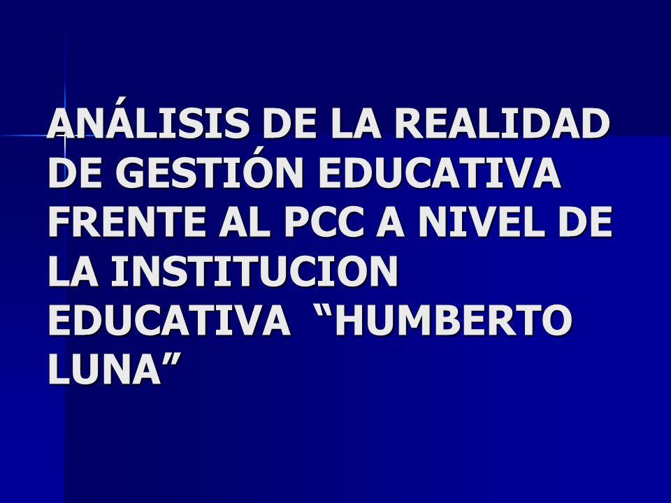 ANÁLISIS DE LA REALIDAD DE GESTIÓN EDUCATIVA FRENTE AL PCC A NIVEL DE LA INSTITUCION EDUCATIVA HUMBERTO LUNA