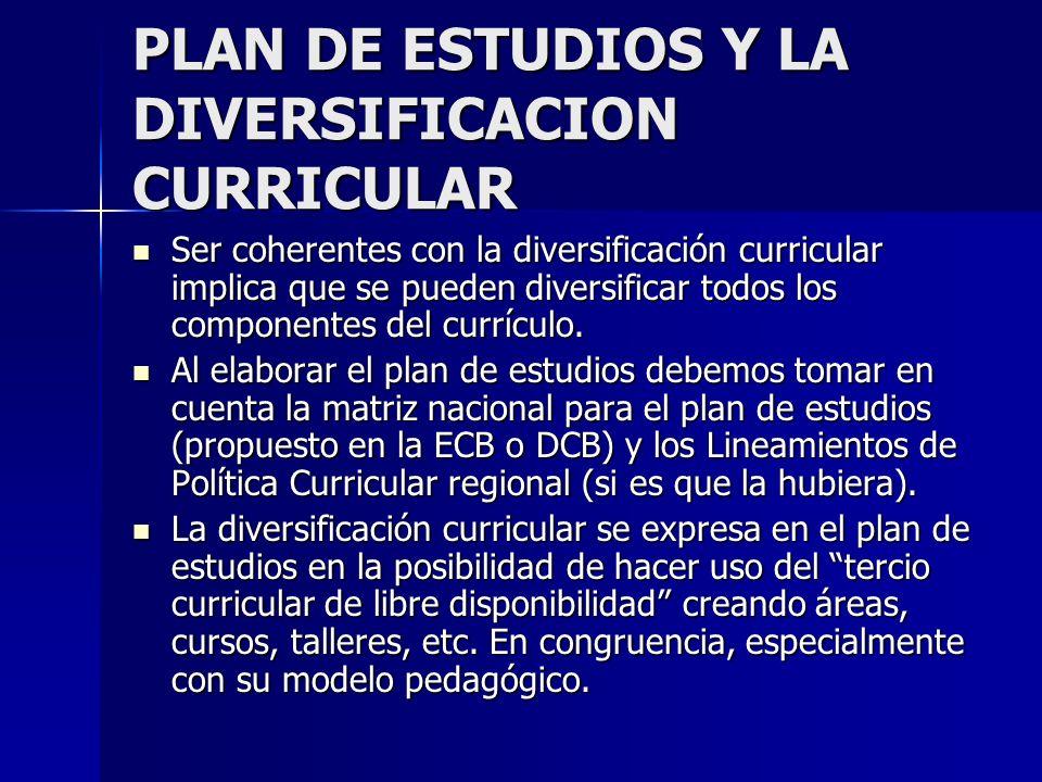 PLAN DE ESTUDIOS Y LA DIVERSIFICACION CURRICULAR