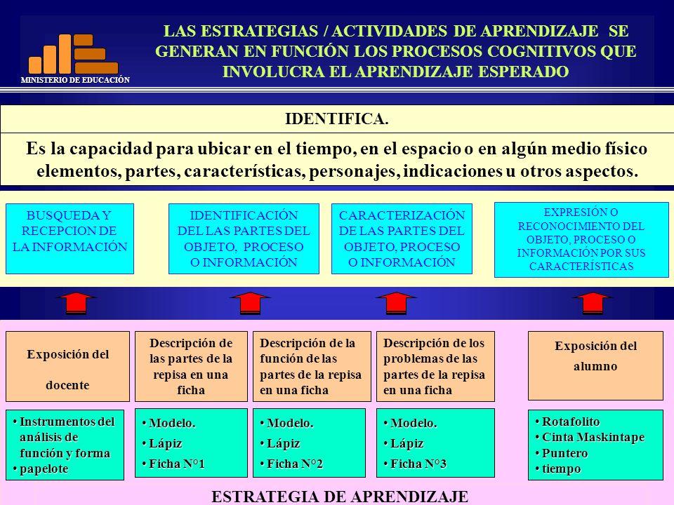 LAS ESTRATEGIAS / ACTIVIDADES DE APRENDIZAJE SE GENERAN EN FUNCIÓN LOS PROCESOS COGNITIVOS QUE INVOLUCRA EL APRENDIZAJE ESPERADO