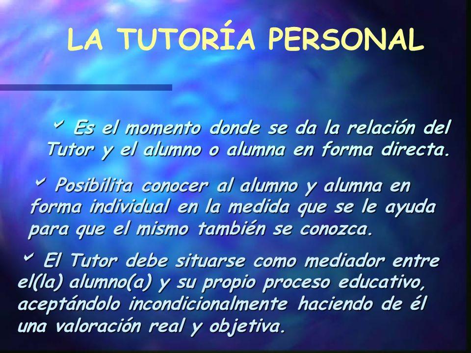 LA TUTORÍA PERSONAL  Es el momento donde se da la relación del Tutor y el alumno o alumna en forma directa.