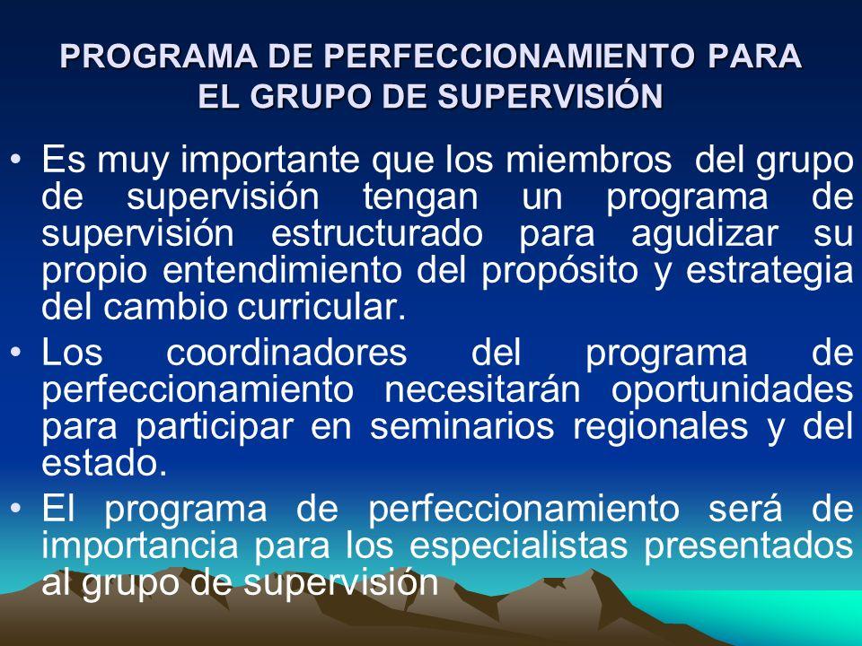 PROGRAMA DE PERFECCIONAMIENTO PARA EL GRUPO DE SUPERVISIÓN
