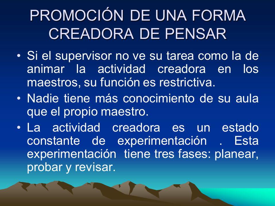 PROMOCIÓN DE UNA FORMA CREADORA DE PENSAR