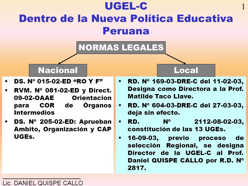 UGEL-C Dentro de la Nueva Política Educativa Peruana