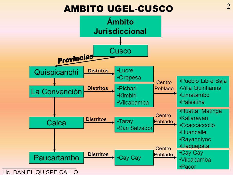 Provincias AMBITO UGEL-CUSCO 2 Ámbito Jurisdiccional Cusco