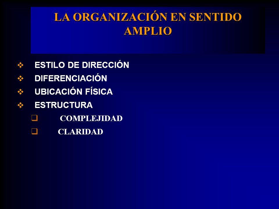 LA ORGANIZACIÓN EN SENTIDO AMPLIO