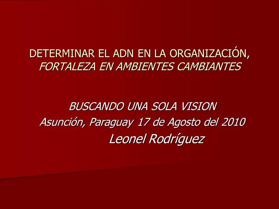BUSCANDO UNA SOLA VISION Asunción, Paraguay 17 de Agosto del 2010