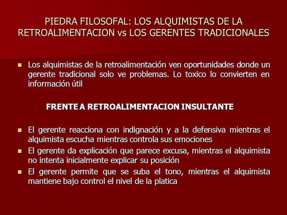 PIEDRA FILOSOFAL: LOS ALQUIMISTAS DE LA RETROALIMENTACION vs LOS GERENTES TRADICIONALES