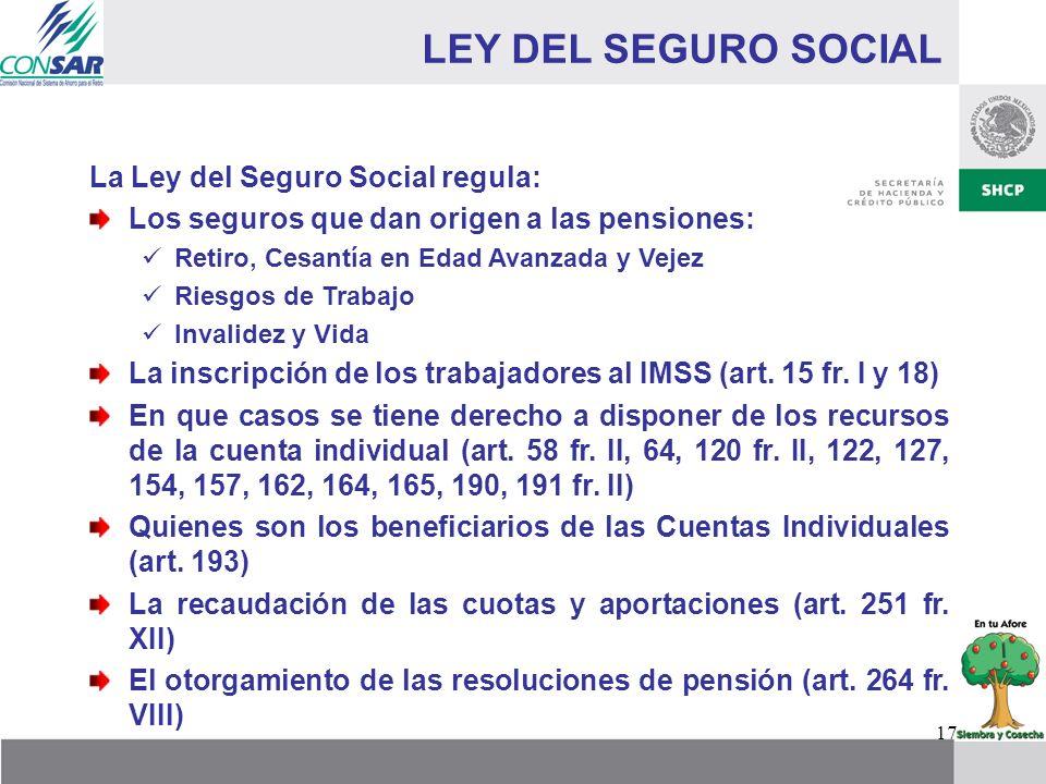 LEY DEL SEGURO SOCIAL La Ley del Seguro Social regula: