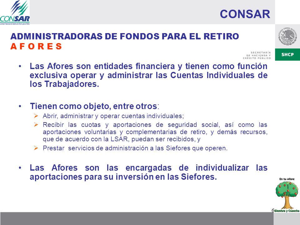 CONSAR ADMINISTRADORAS DE FONDOS PARA EL RETIRO A F O R E S