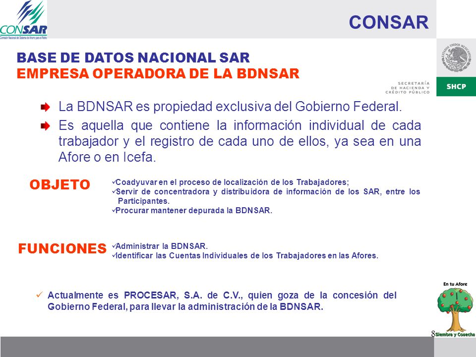 CONSAR BASE DE DATOS NACIONAL SAR EMPRESA OPERADORA DE LA BDNSAR