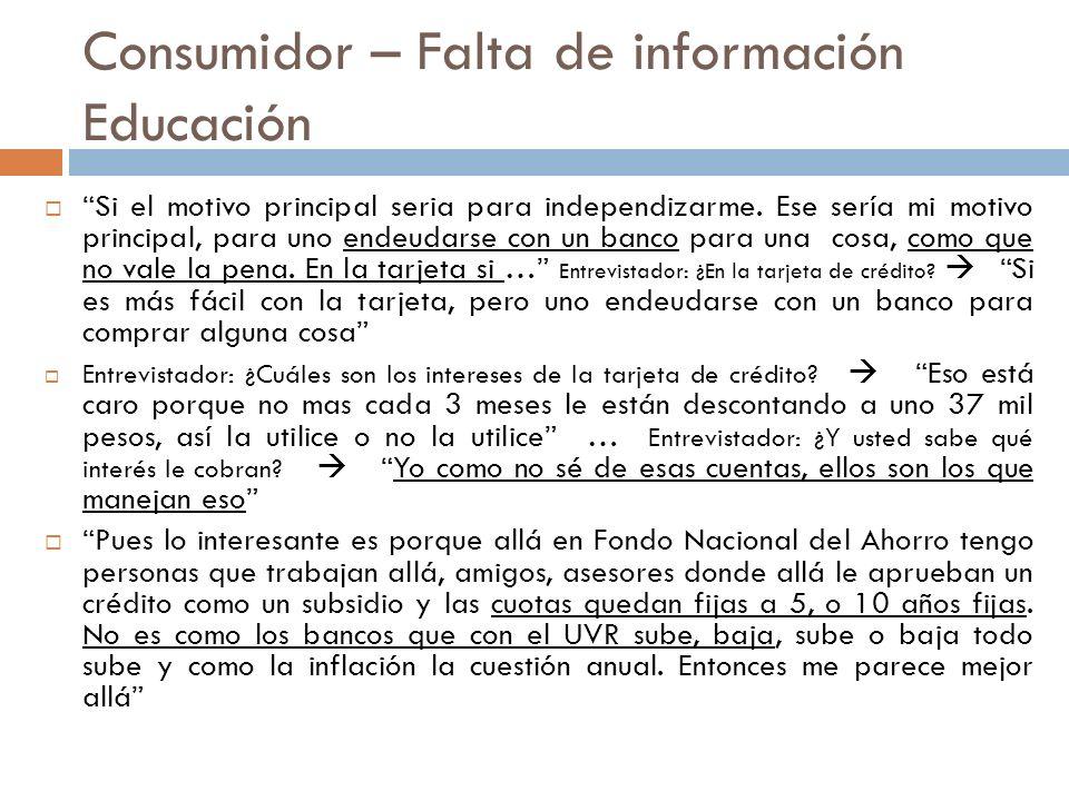 Consumidor – Falta de información Educación